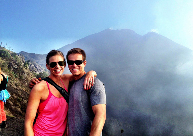 At the base of an active volcano in Guatemala with my boyfriend