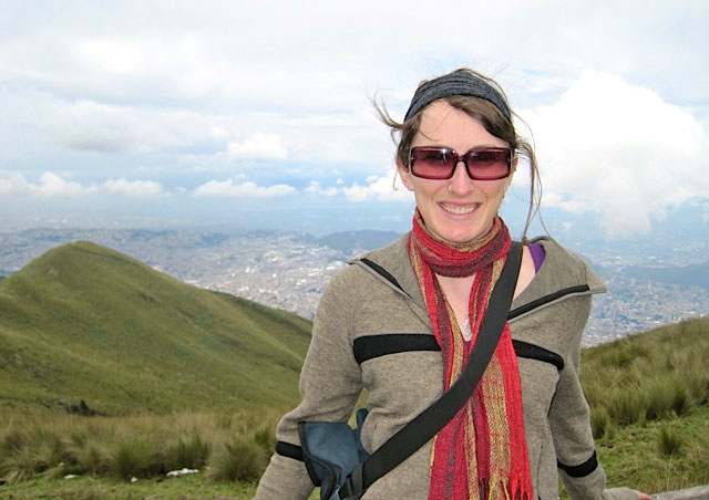Me at the top of the Teleferico. Happy to be back in Quito.