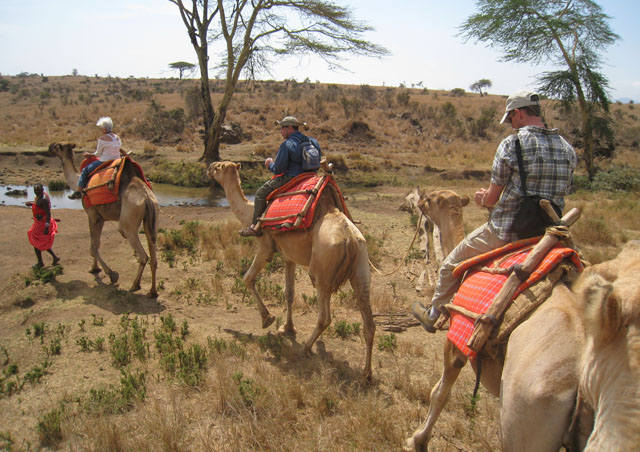 There's no better way to see the wildlife in Lewa than by foot, horse or camel. Doesn't Greg Courter (NHA Adventure Specialist) look like a natural rider?
