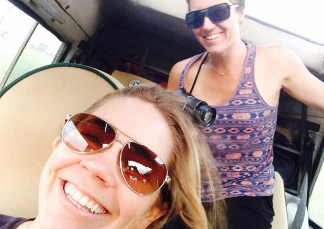 Sandy & I having a ball as we take in the beautiful scenery of Uganda