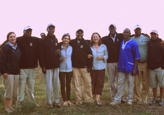 Enjoying the Sunset over the Serengeti and a Sundowner with new friends