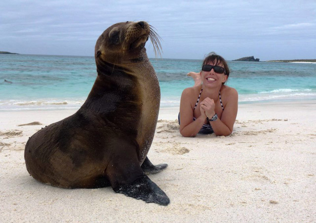 Enjoying the sea lions on our Galapagos Hiking & Kayaking Adventure - July 2012
