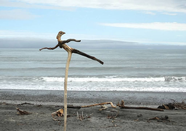 We were fortunate to arrive to this beach in Hokitika on a day when there was a driftwood sculture display. This was my favorite.