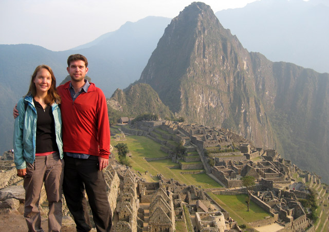 The quintessential Machu Picchu shot with my wife, Sarah, on our round-the-world adventure