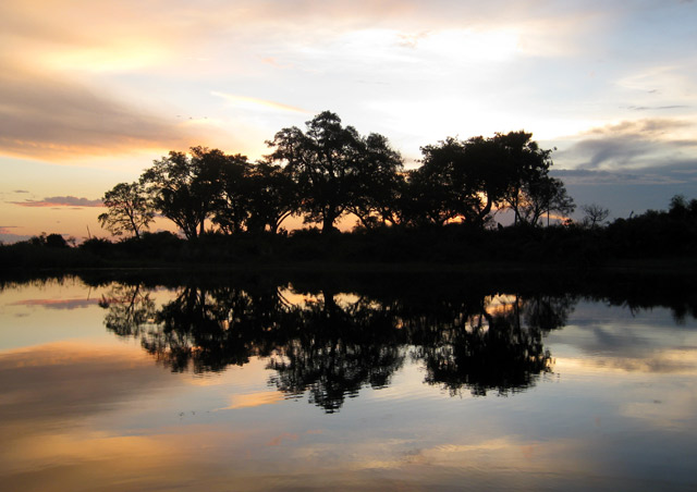 Sunset over the Okavango Delta in Botswana