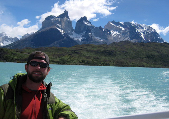 Riding across Torres del Paine's aqua-blue glacial lakes with a rare clear view of the Cuernos.  Chile's flagship national park is one of the most breathtaking landscapes on the planet