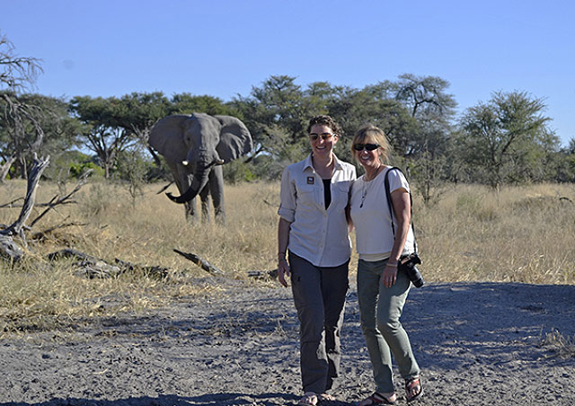 With Adventure Specialist Lauren Deeley and an elephant in Botswana.