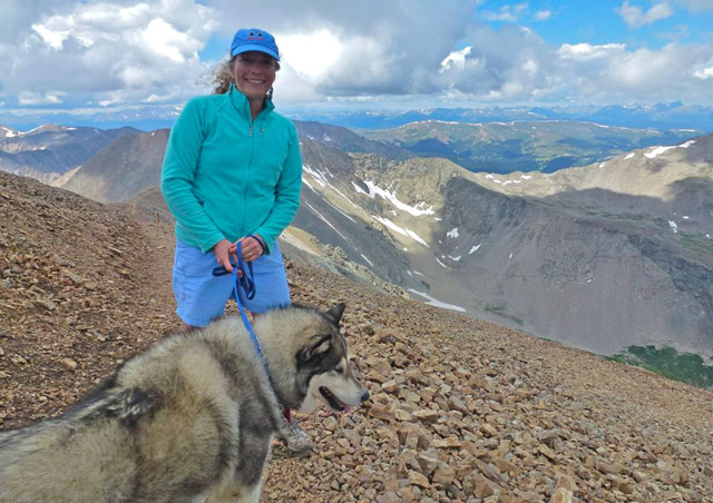 "Hiking with my favorite canine companion, my Alaskan malamute Chilkoot. We just summited Mt. Cameron, one of Colorado's famous ""14ers"" (the state has 53 peaks in excess of 14,000 feet)."