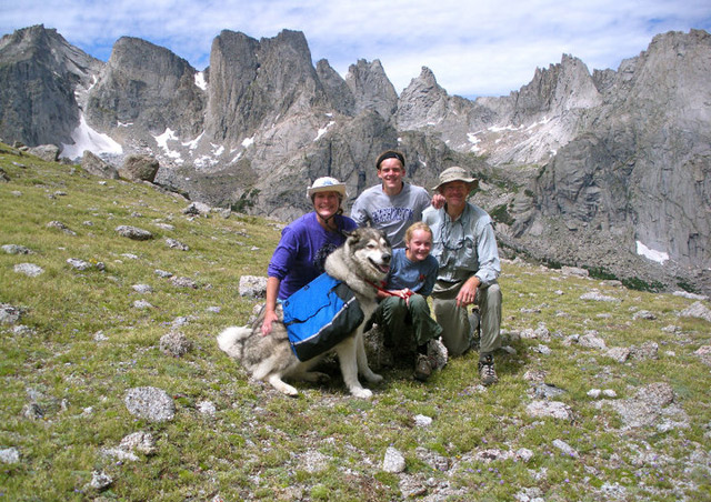 With my family, including Chilkoot the malamute, on a backpacking trip in Wyoming's Wind River Range.
