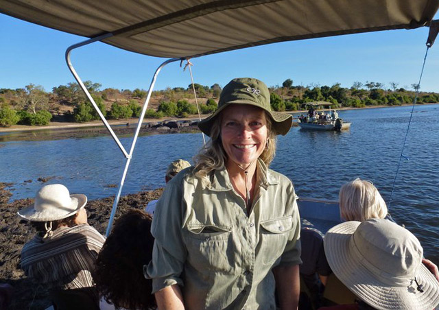 Aboard a safari cruise on the Chobe River, where Botswana, Zambia and Namibia come together. We saw lots of elephants, hippos and crocodiles!