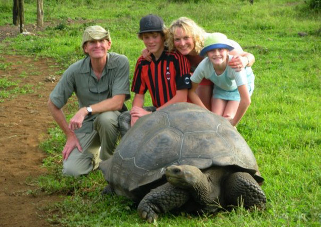 With my family in the highlands of Santa Cruz Island. Galapagos giant tortoises can weigh up to 600 lbs. and live to 200 years!