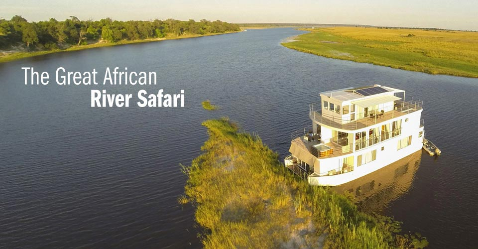 Privately Chartered Riverboat, Chobe River, Namibia