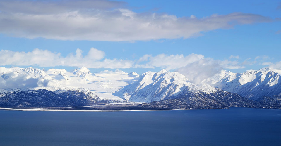 Snow covered glaciers, Kachemak Bay, Homer, Alaska