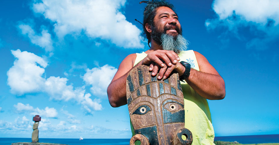Local woodcarver, Easter Island