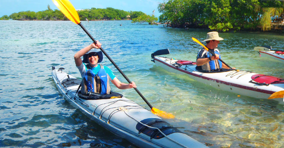 Kayaking near Little Bread and Butter Caye, Belize