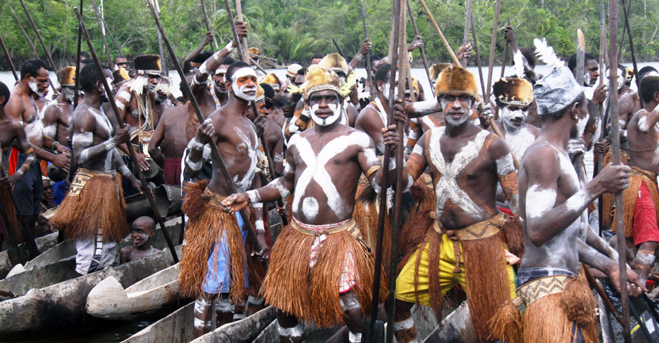 Asmat warriors, Ewer Village, Papua