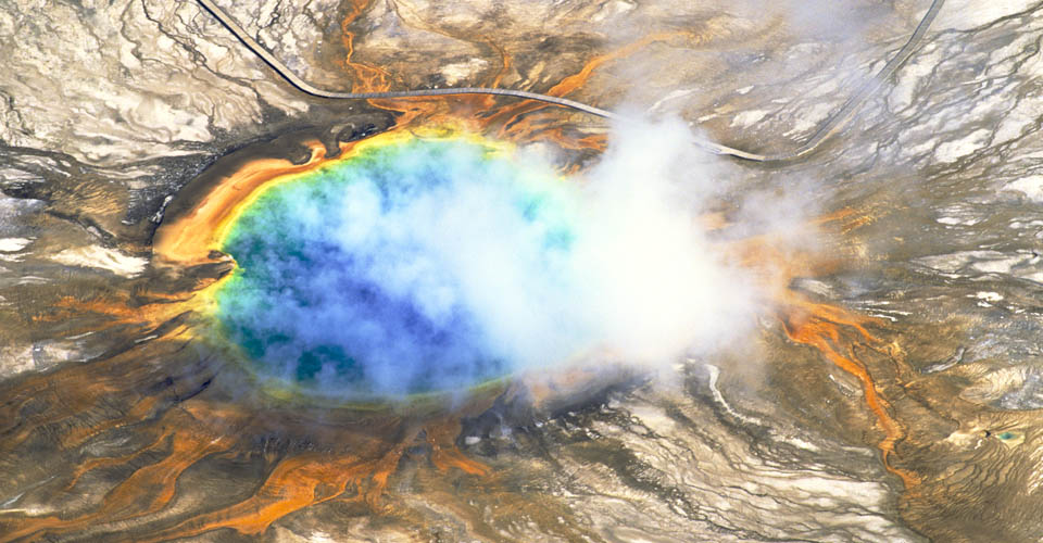 Grand Prismatic Spring from above, Yellowstone National Park, USA
