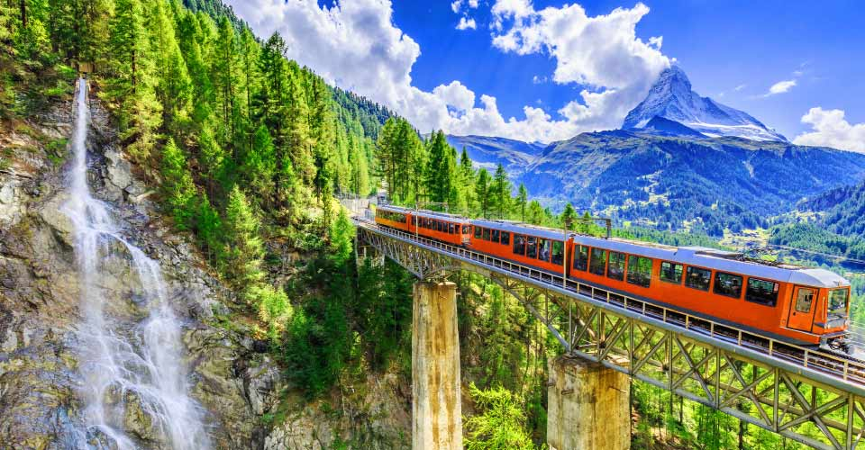 Glacier Express train, Zermatt Valley, Switzerland