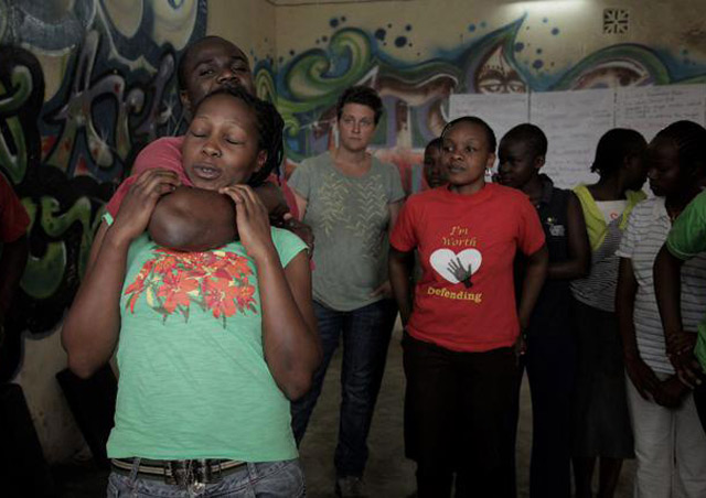I work heavily with Stop Violence Against Women in Kenya and this shot is from a self-defense workshop for teenage mothers in Dandora slum, Nairobi, facilitated by I'm Worth Defending.