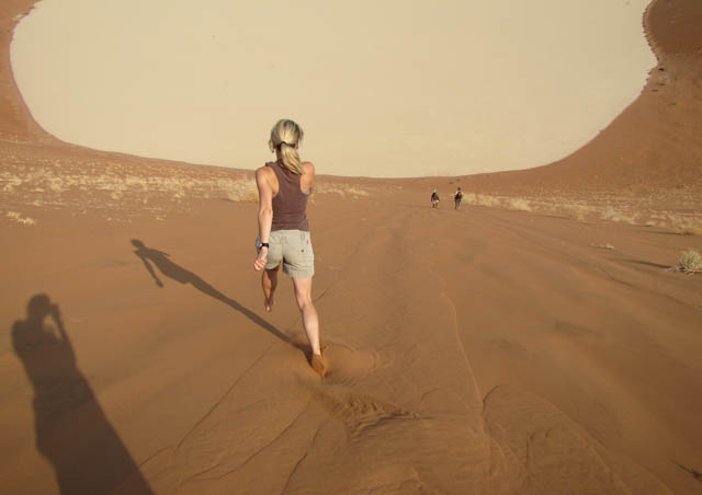 "Running down ""Big Daddy,"" the tallest dune in the world, Sossusvlei, Namibia."