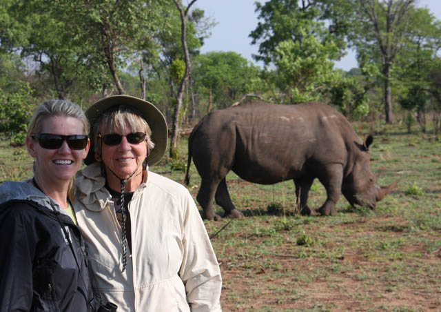 Tracking rhino on foot in Zambia with my hilarious travel partner, Aunt Betty.