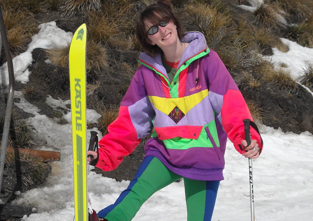 Closing day at Treble Cone, where I was a ski bum in NZ—retro day!! We undrilled the straight skis from the ceiling at the ski shop I worked in. 2008