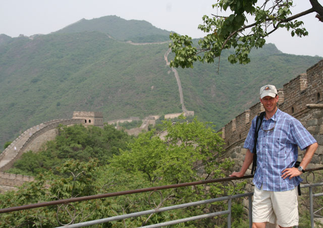 Along the Great Wall of China.