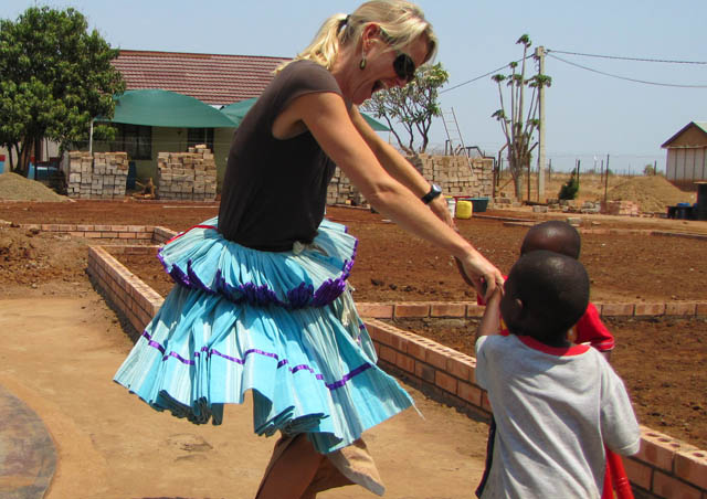 Dancing with Makuleke children in South Africa.
