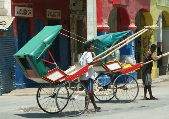 Colorful rickshaws are a convenient way to get around the crowded streets.