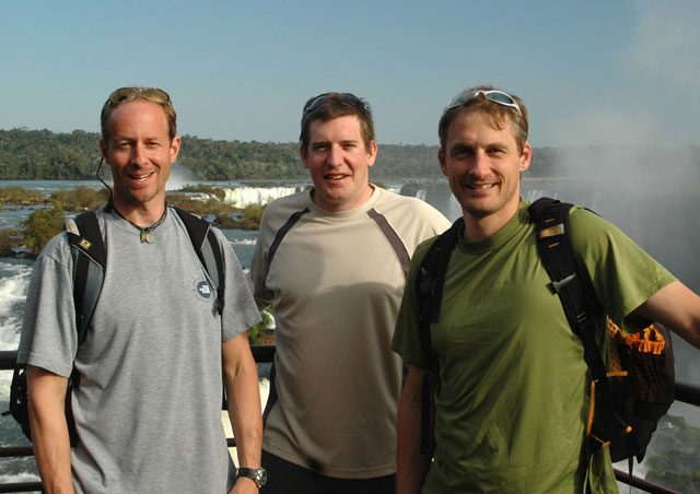 On the Argentinean side of Iguazu Falls with Mark (middle) and Rick (right) of Nat Hab.