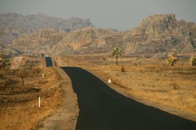 The road to Isalo offers some remarkable views of deep canyons, grasslands and sandstone formations.