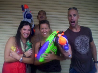 Glenn and I in the midst of Asia's largest water fight on the streets on Bangkok, Thailand during the Songkran (Thai New Year) celebration.