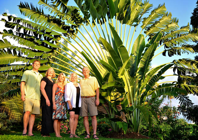 Under a giant traveler's palm in Tobago with my family, Christmas 2008.