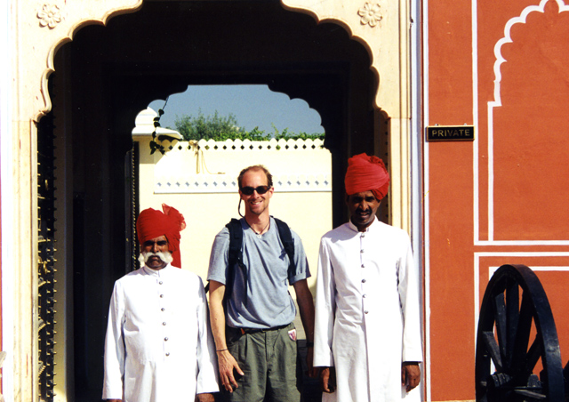 "With a couple friends for the ""tourist shot"" in City Palace, Jaipur, India."