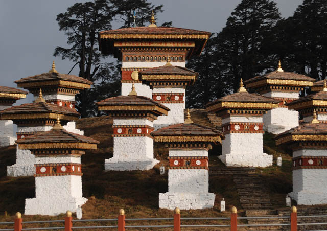 108 Chortens at the top of Dochu La Pass