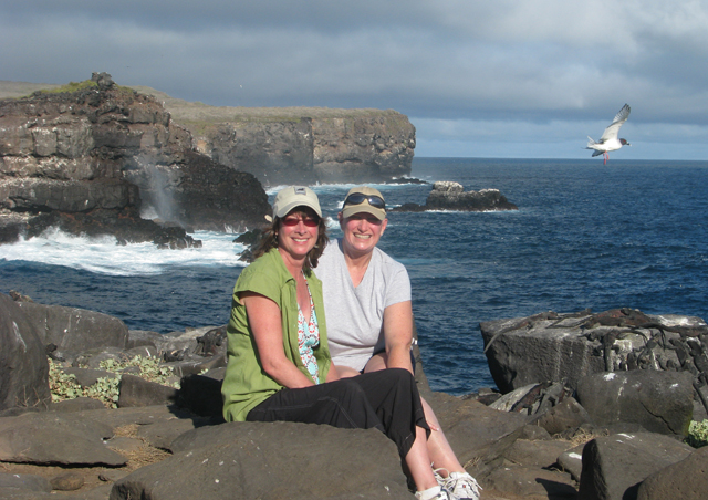 Absorbing the magnificent view from the cliffs of Espanola with Waved Albatross and Galapagos Seagulls.  Spectacular!