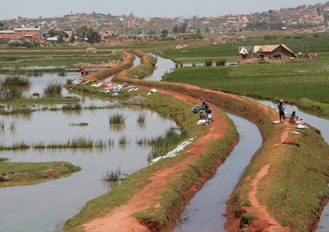 You can see the Asian influence on the landscape outside of Antananarivo through its network of irrigation ditches and rice farming.