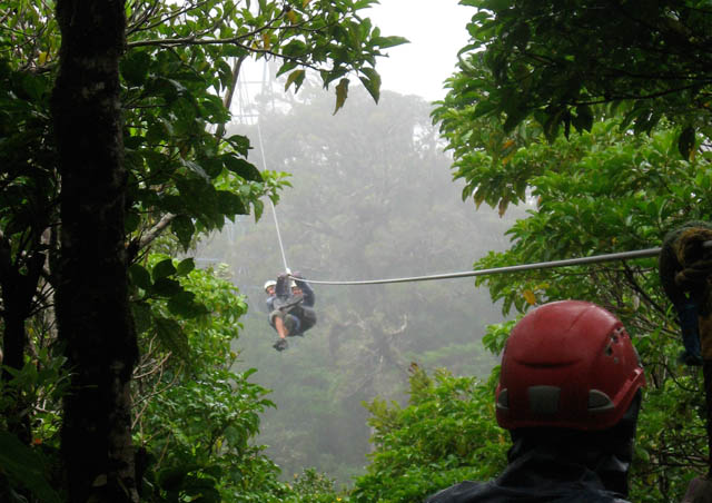 Here I am with my brother and his wife on a canopy tour in the Monteverde Cloud Forest, Costa Rica. Flying through the air, suspended by just a harness and a cable, engulfed in clouds…yesssss!