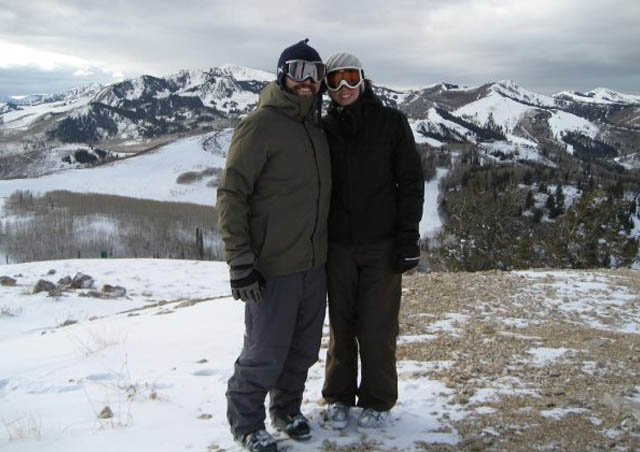 At the top of Deer Valley Ski Resort in Utah with my husband. You could see almost 10 different resorts from here!