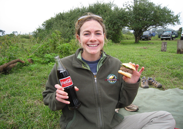 "As any world traveler knows, food is part of the fun!  This classic  ""Burgers and Coke"" picnic lunch near the Ngorongoro Crater was no exception."