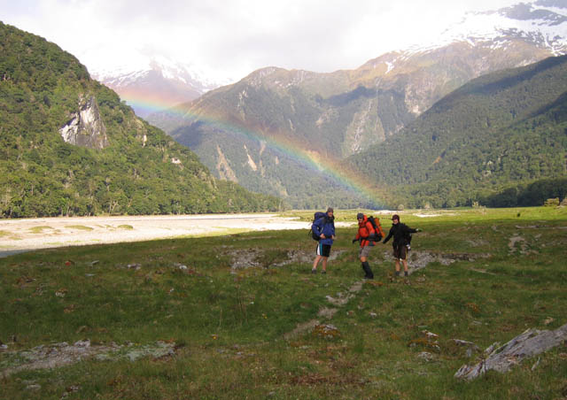 Finding the gold at the end of the rainbow: along the Wilkin Valley Trek in NZ. I'm on the right. 2007