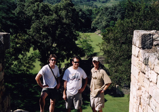 Checking out the Mayan ruins of Copan, Honduras with Nat Hab buddies Mark (left) and Matt (right).