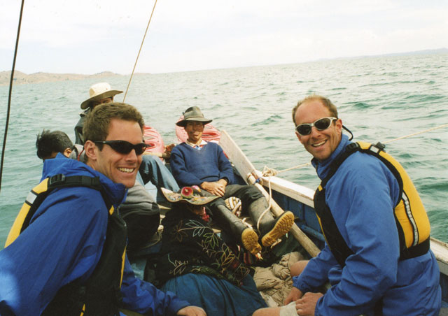 After kayaking across a portion of Lake Titicaca in Peru the waves picked up in the afternoon, so my brother Jeff (left) and I hitched a ride with this semi-inebriated guy and his family sailing back to their house after a festival.