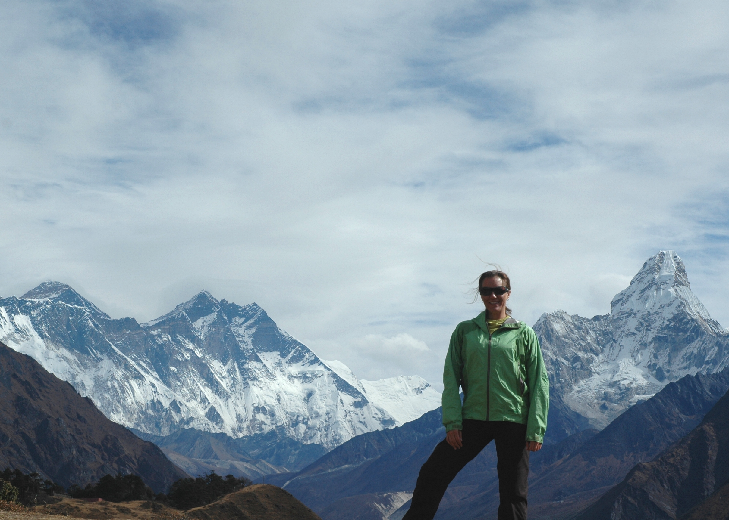 An awesome day of trekking with an amazing view from the trail of Mt. Everest and Ama Dablam, Nepal.