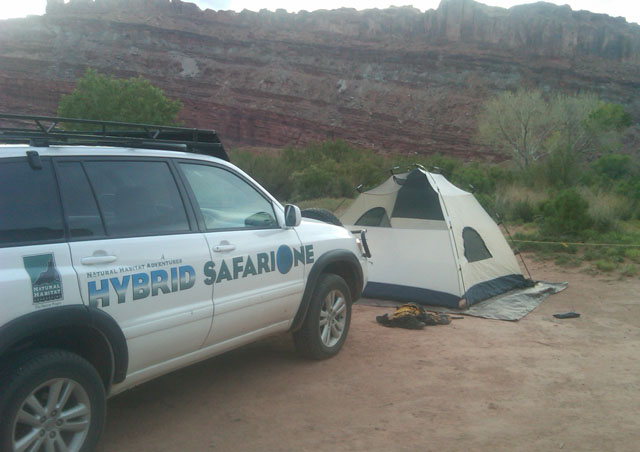 "On his adventures in the southwest Ben always takes Natural Habitat's ""SafariOne"", the world's first hybrid safari truck!"
