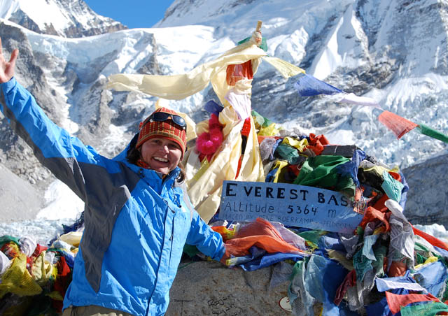 In November 2009, I joined a group of friends trekking in Nepal. We laughed, played cards, and ate Snickers bars all the way down the trail, ending up at Everest Base Camp (17,862 feet- that's high!)