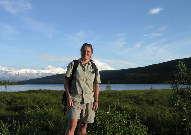 For 10 years I guided Natural Habitat Adventure groups throughout Alaska. This photo was taken at Wonder Lake with Denali/Mt. McKinley in the background. At 20,320 feet above sea level, it's the highest point in North America. I have many special memories of all the fun groups I guided in our 49th state.