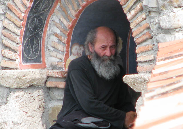 This Georgian monk sits in contemplation outside his monastery in Telavi.