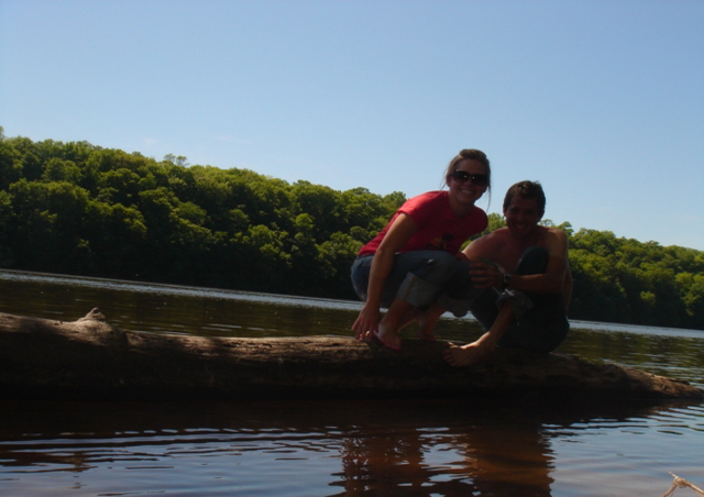 My husband, AKA Huck Finn, and me playing on the banks of the St. Croix.