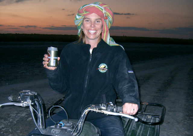 No, I am not wearing a dishtowel on my head! I am exploring the Kalahari desert on a quad bike and wearing a Kikoy cloth which keeps the dusk out of your face/hair.
